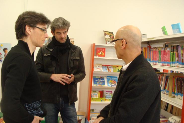 Richard, Sylvain Coher et Moussa de la Médiathèque